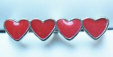 Idée cadeau : Bijou fantaisie mode : Double bague argentée - Quatre cœurs rouges