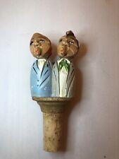 Vintage Carved Wood Kissing Couple Bottle Stopper -Unmarked  Anri? German?