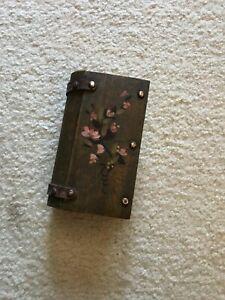 "Vintage Leather Box BOOK shape Hidden Secret Storage Safe Organizer 6.5""L"