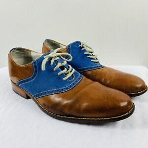 Cole Haan Size 9 M Colton Saddle Oxford Leather Shoes Brown Blue Lace Up
