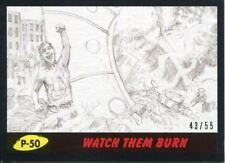 Mars Attacks The Revenge Black [55] Pencil Art Base Card P-50 Watch them Burn