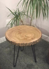 Tree coffee Side Table Wood Slab Rustic Handmade Trunk table with Hairpin Legs