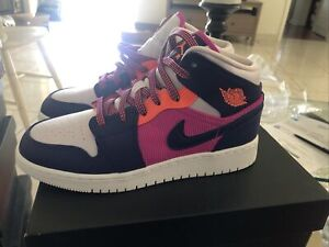 Nike Air Jordan 1 Mid GS Shoes Fire Pink-Regency Purple 555112-602 Sz 5Y DS