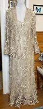 SOULMATES 2 Pc Crochet Silk Dress Crystal Beading XL & Jacket Champagne cream