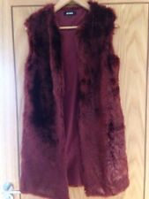 Faux Fur Long Gilet Burgandy Size 8 MissGuided