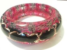 Chanel NWT Lucite Bangle bracelet Pink Tweed  Black Chain
