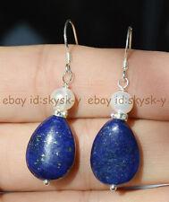 Natural Egyptian Lapis Lazuli Real White Pearl Drop Dangle Earrings Silver Hook