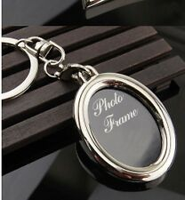 Cadre photo forme ovale Rotatif Porte-clés Porte-clés Keychain Porte-clés Anneaux Clés OVL