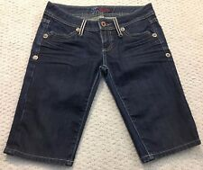 MISS ME Size 27 Bronx Denim Bermuda Shorts JP4453 Dark Wash Distressed Cotton