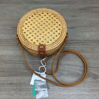 Hand Woven Round Rattan Bag Purse Handmade Wicker Crossbody Bag Leather Accents