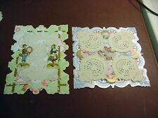 Lot of 2 Late Victorian/Edwardian Folder Valentines-Lace Overlays-Diecut Scraps