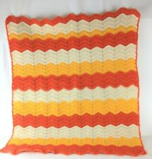 "Colorful Handmade Crocheted Orange Yellow Cream Lap Blanket Throw Baby 24"" x 27"""