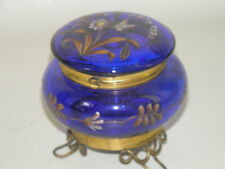 ANTIQUE MOSER BOHEMIAN  BLUE ENAMELED ART GLASS  HINGED JEWELRY TRINKET BOX