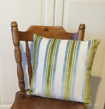 Bespoke Cushion Cover In Duck Egg Blue And Chartreuse Velvet Stripe 17 X17""