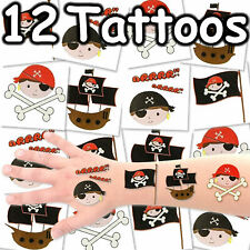 PIRATEN TATTOO SET - 12 Kinder Tattoos Kindergeburtstag Piratentattoos Mitgebsel