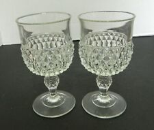 Indiana Glass Diamond Point Wine Glasses Goblets Crystal Clear Vintage