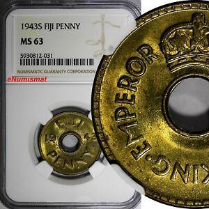 Fiji George VI Brass 1943 S 1 Penny NGC MS64 San Francisco Mint KM# 7a (031)