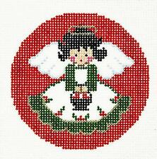 """Christmas Angel Green & White handpainted 3"""" Rd. Needlepoint Canvas Ornament LEE"""