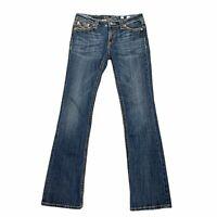 Miss Me Cow Hide Western Cowboy Patch Pocket Bootcut Women's Size 29 Denim Jeans