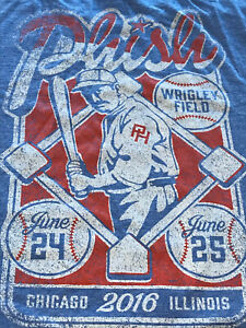 Original 2016 Phish Wrigley Field Concert T-shirt Chicago, IL Cubs