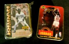 MICHAEL JORDAN 2 Metal Card Set Lot in Tin Chicago Bulls & Baseball Last Dance