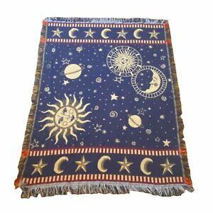 Vtg Goodwin Weavers Sun Moon Stars Universe Astrology Reversible Throw Blanket
