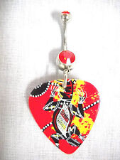 UNIQUE ABORIGINAL ART GECKO / LIZARD RED GUITAR PICK ON DBLE RED CZ BELLY RING