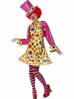 Ladies Clown Lady Fancy Dress Costume & Tights by Smiffys New