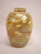 """MAYTUM GLASS STUDIO 3 7/8"""" Yellow Iridescent Vase"""
