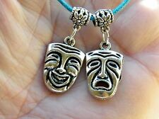 """ACTORS JEWELRY Comedy Tragedy MASKS Chokers 17""""-19"""" Blue Cord ACTOR NECKLACE NEW"""