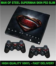 PLAYSTATION 3 SLIM CONSOLE SUPERMAN STICKER MAN OF STEEL SKIN & 2 PAD SKINS