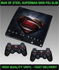 PLAYSTATION 3 SLIM CONSOLE SUPERMAN STICKER MAN OF STEEL SKIN & 2 PAD SKINS