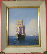 Beautiful Bright Sea Painting of a Sail Ship by Arup Jensen