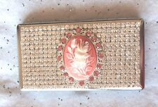 Pink Rose Cameo~ Crystal Rhinestone Cigarette Mirror Case 100s 120s or Kings USA