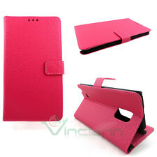 Custodia FUCSIA pelle per Samsung Galaxy Note Edge N915FY stand+tasche schede