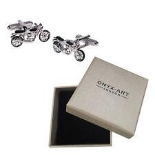Mens Silver Motorbike Cufflinks & Gift Box - Biker Motorcyclist Gift By Onyx Art