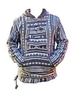 Handmade Fleecelined Winter unisex center zip pocket wood button cotton pullover