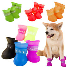 4 Pack Waterproof Dog Boots Shoes Soft Non Slip Paw Protective Rain Wellies Boot