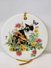 Calico Cat in Flowers w/Butterfly 3 IN Round Christmas Tree Ornament Decal