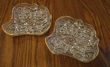 VINTAGE 2 PIECE SNACK SET BY THE JEANNETTE GLASS CO. PRESS CUT GLASS GOLD TRIM