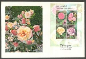 AOP India 2007 Roses MS scented miniature sheet on FDC First Day cover