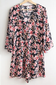 SEAFOLLY Size XL Nouveau Floral Viscose Bell Sleeve Romper, PLAYSUIT Navy, Pink
