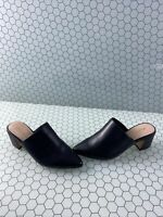 ALDO 'Ocoasien' Black Leather Block Heel Pointy Toe Mule Heels Women's Size 8