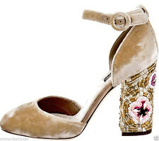 Dolce & Gabbana Golden Beige Velvet Mary Jane Floral Mosaic Decorated Pumps