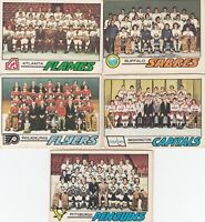 1977-78 O PEE CHEE TEAM CHECKLIST lot of 5 DIFFERENTS CARDS v g cond+ to  Ex  a