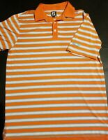 Mens Large Footjoy Golf Polo Striped~Embroidered Orange White Sky Blue