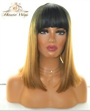 OMBRE STRAIGHT WOMENS WIG BOB DARK BLONDE BROWN FRINGE BANGS HUMAN HAIR SHORT