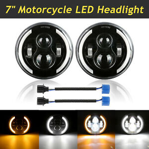 """2PCS 7"""" Motorcycle LED Projector Headlight High-Low Beam For Harley Cafe Racer"""