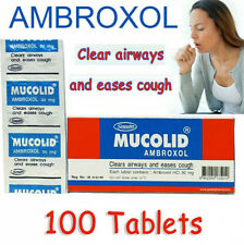 100 Tablets Ambroxol 30mg Mucolid Clear Airway Dissolve phlegm Relieve Cough