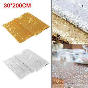 "Nice Glitter Sequin Table Runner Sparkly Wedding Party Decor 12""x79"" + 2 Colours"